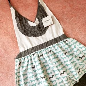 Other - ENVOGUE- APRON TEAL/GREY WITH DACHSHUND PATTERN